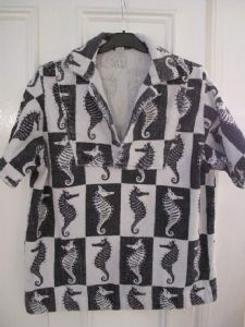 1950's Black & White seahorse printed cotton towelling vintage cover-up**SOLD**
